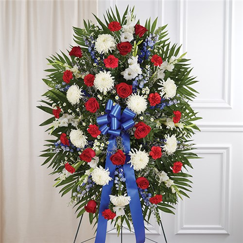 1-800-Flowers® Red, White & Blue Sympathy Standing Spray